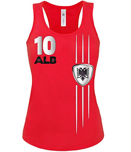 Copa del Mundo de fútbol - Campeonato de Europa de Fútbol - ALBANIEN mujer camiseta Tamaño S to XXL varios colores S-XL Rojo