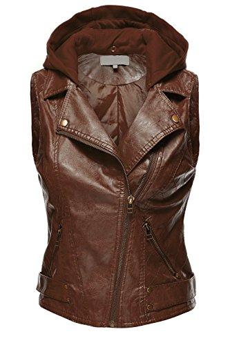Luna Flower Women's Slim Fit Faux Leather Moto Hooded Zip Up Vest Brown Large (GJAW061)