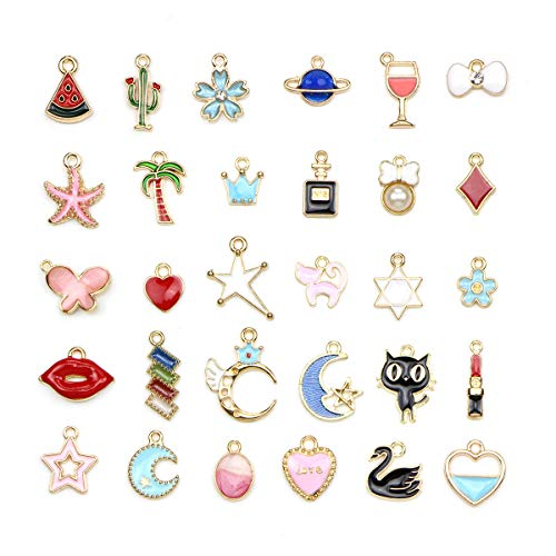 30 Pcs Assorted Enamel Charm Pendant Gold Plated Love Cactus Moon Star Dainty Dangle Crafting Accessories for Necklace Bracelet Ankle Jewelry DIY Making