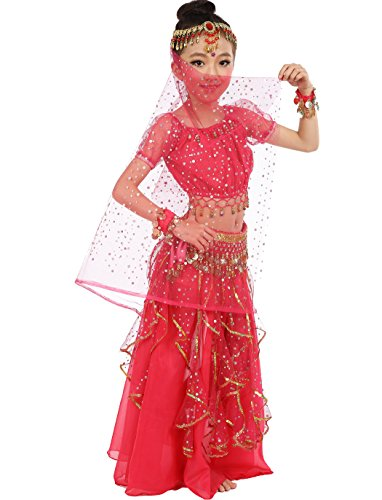Astage Little Girl`s Girls Belly Dance Carnival Dancing Dress Hotpink S-L (Little Girl Belly Dancing Costumes)