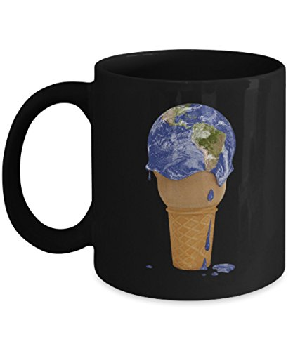 Climate Change Represented By Melting Ice Cream Earth Global Warming Coffee Mug, Black, 11 oz - Unique Gifts By huMUGous