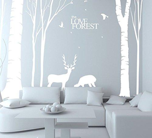 Deer Vinyl - N.SunForest Giant White Tree Vinyl Wall Decals Animal Deer Elk Birds the Love Forest Stickers Baby Nursery Home Bedroom Decor Art Murals - 6.5ft