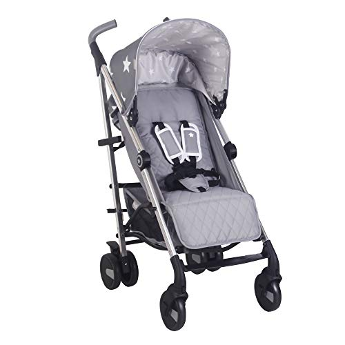 My Babiie Grey Stars Baby Stroller – Lightweight Baby Stroller with Carry Handle – Silver Frame and Grey Stars Canopy – Lightweight Travel Stroller – Suitable from Birth – 33 lbs