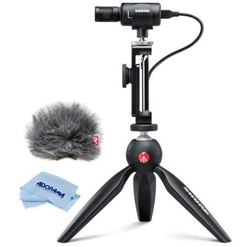 Shure MV88+ Premium Digital Stereo Condenser Microphone Video Kit with Manfrotto PIXI Mini Tripod + Shure Rycote Windjammer for Shure Motiv MV88 Digital Stereo Microphone