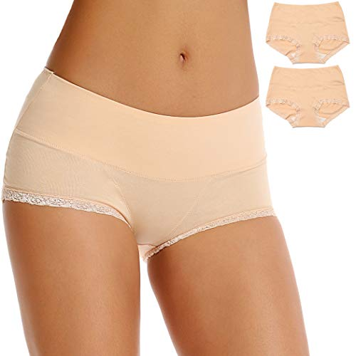 Women Cotton Underwear mid High Waist Full Coverage lace Hipster Seamless No Show Panties Briefs 2 Pack (Beige, M)