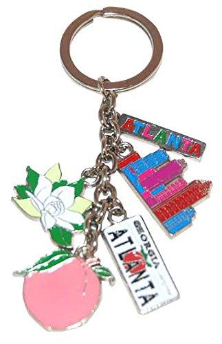 Atlanta GA 5 Charm Keychain Featuring Georgia Peach, Atlanta's Skyline, Atlanta License Plate and Flowers