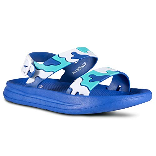 Fresko Shoes Water Sandals for Boys –Lego Pattern for Pool, Beach, Shower Blue ()