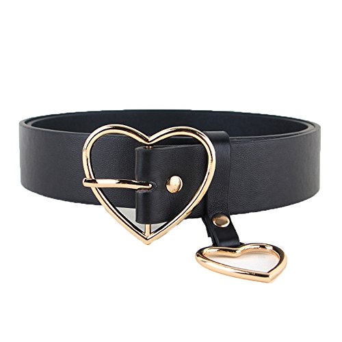 Women Lady Fashion Gold Silver Heart Buckle Belt Leather Jeans Dress Waist Band (Gold-3.3CM)