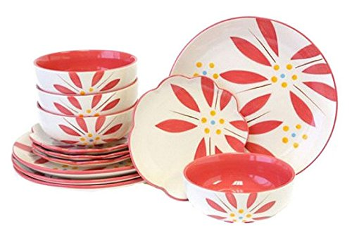 Temp-tations Hand Painted Stoneware 12-pc. Dinnerware Set - Vivid Old World (Hot Pink)