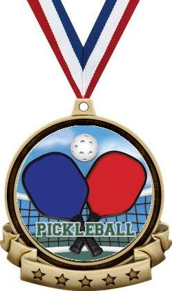 ピックルボールメダル - 2.5インチ ゴールド ピックルボールメダル賞 レッドホワイトとブルーネックリボン付き ピックルボール賞 B07MSHQ9DQ