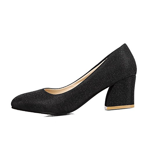 On Shoes Pull Pointed Kitten Women's Heels WeiPoot Solid Toe Black Pumps qxwaAXznI