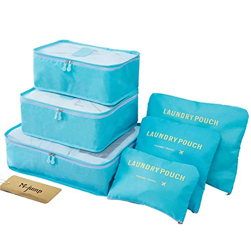 M-jump Clothes Storage Bags Packing Cube Travel Luggage Organizer Pouch,6 Set Travel Multi-functional Clothing Sorting Packages (Sky blue) ()