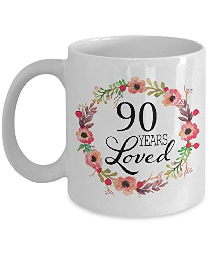 90 Years Loved Floral Coffee Mug