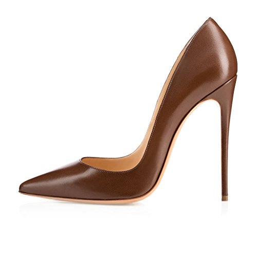 EDEFS Womens Handmade Fashion ASO-Kate 120mm Pointed Toe Classic Party Slim Heel Pumps Stiletto Shoes Blue Chocolate NVETze8LS1