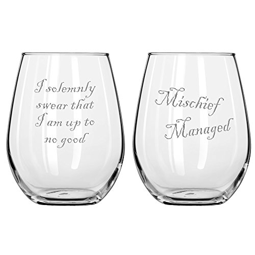 National Etching Mischief Managed Wine Glass Set 11oz Stemless