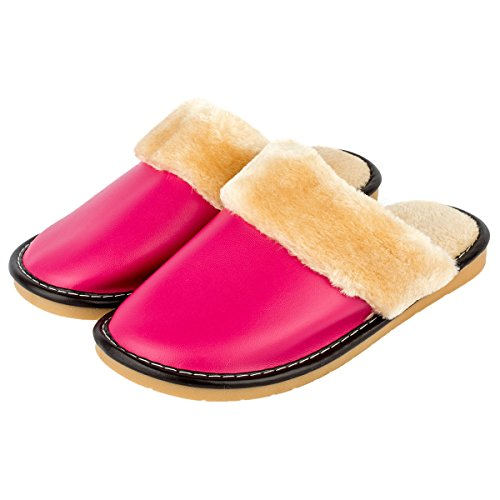 Haisum Womens Fluffy Peluche Fodera Silpper Tinta Unita Slip-on Pu In Pelle Pantofole Rosa