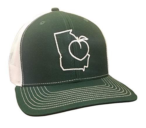 It's All About The South Georgia Outline Peach Trucker Mesh Snapback Hat-Dark Green-White Mesh]()