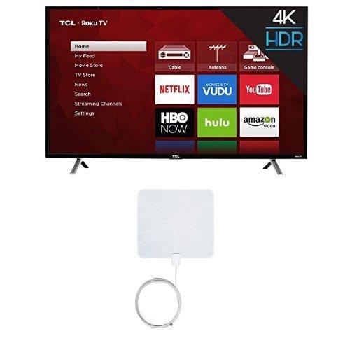 TCL 49S405 49-Inch 4K Ultra HD Roku Smart LED TV (2017 Model) with Winegard FlatWave FL-5000 Digital Indoor HDTV Antenna