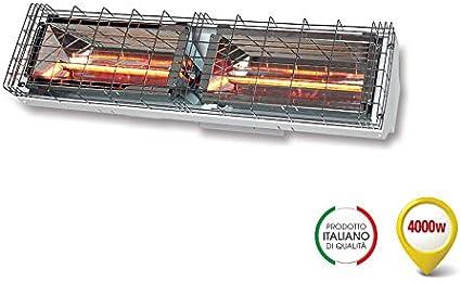Grado Estufa lámpara rayos infrarrojos, IRK onda corta, difusión simétrica calefactora, potencia 4000 W, IP24, 230 V, GH-4000 WH