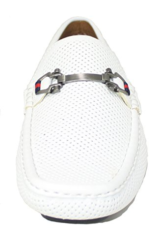 Reverse F41005 Uomo Bianco Forato Driving Shoe Con Fibbia