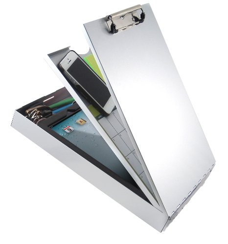- Saunders Cruiser-Mate II 21118 Recycled Aluminum Storage Clipboard - Silver, Letter Size, 2.25 in. x 9 in. x 14 in. Document Holder with Self Locking Latch, Dual Tray Storage