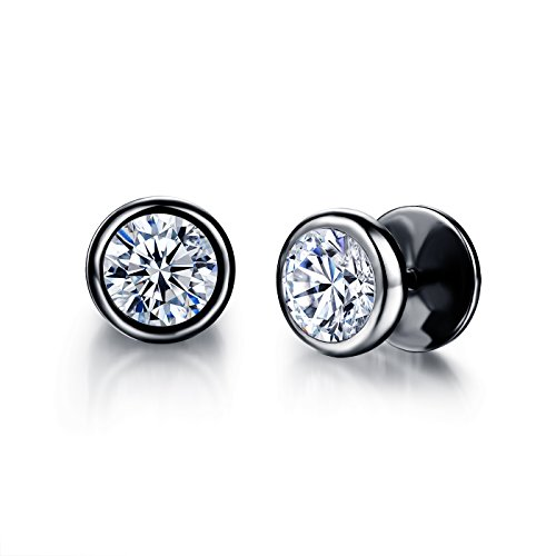 Moniya Jewelry 10mm Men's Stud Earrings Stainless Steel Illusion Tunnel Fake Ear Plugs With Spike Cz,Black