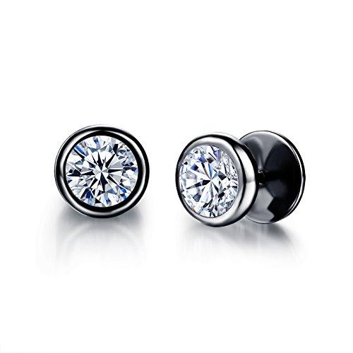 Moniya Jewelry 10mm Men's Stud Earrings Stainless Steel Illusion Tunnel Fake Ear Plugs With Spike (Bezel Ear Piercing Studs)