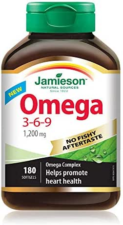Jamieson No Fishy Aftertaste Omega-3-6-9 SoftGels 180 Count