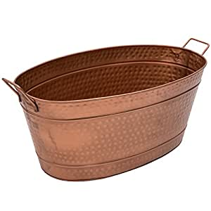 Achla Designs Oval Hammered Copper Plated Galvanized Tub