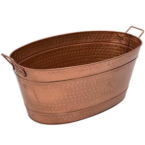 Achla Designs Oval Hammered Copper Plated Galvanized Tub - Large Round Tin