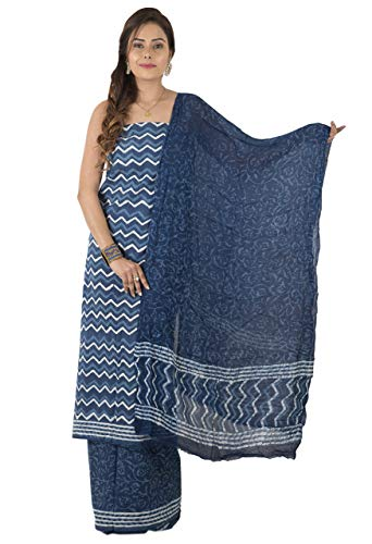 TRIBES INDIA Women's Multi-Coloured Cotton Suit Dress Material Medium Blue ()
