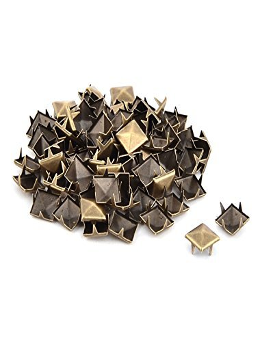 DealMux Metal Clothing Square DIY Decoration Rivet Studs Nail 10mm 80 Pcs Bronze Tone ()