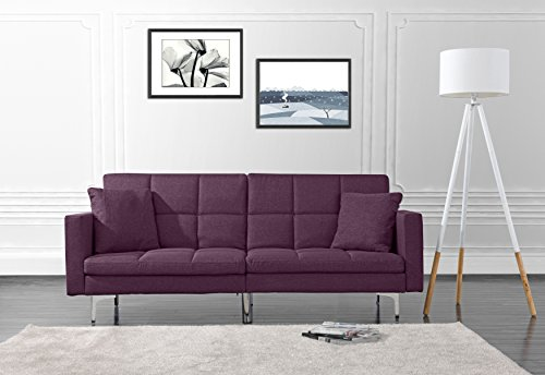 DIVANO ROMA FURNITURE Modern Plush Tufted Linen Split Back Living Room Futon, Sofa for Small Space (Purple)