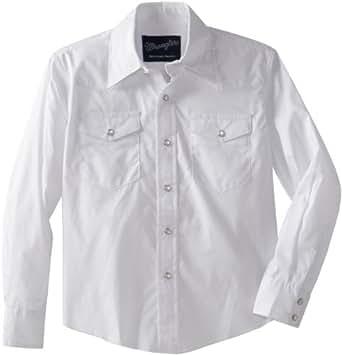 Wrangler Boy's Dress Western Solid Snap Shirt, White, XX-Small(2T)