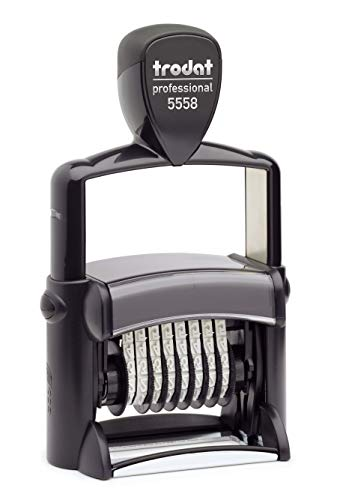 Trodat Professional Number Stamp, 8 Digit Self-Inking Numbering Stamp, 3/8 x 2 1/4 Inches (T5558)