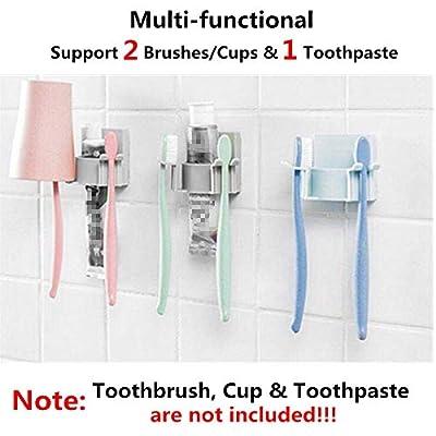 Blemon B Toothbrush Holder for Brush and Safty Razor Wall Mount Adaptive Toothbrush Holder Gargle Cup Holder Dual Toothbrush Holder Wall Mounted