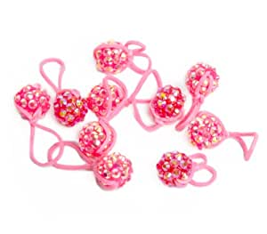 U-B Glitter Charms for Rubber-band Loom-Cotton Candy Pink (10 Charms) with Charm Carrying Case