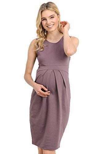 LaClef Women's Knee Length Front Pleated Sleeveless Midi Maternity Dress (Small, Dark Rose)