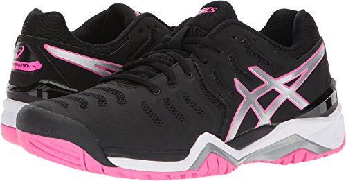 ASICS Women's Gel-Resolution 7 Black/Silver/Hot Pink 7.5 B US by ASICS