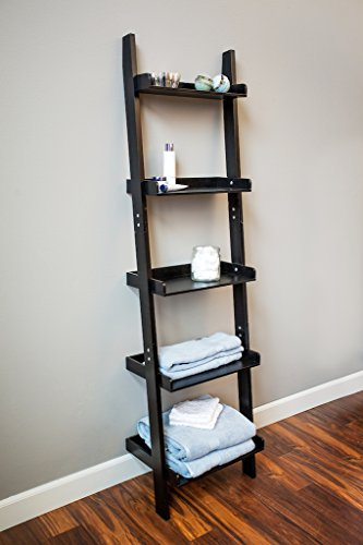 Black 5 tier leaning wall shelving ladder