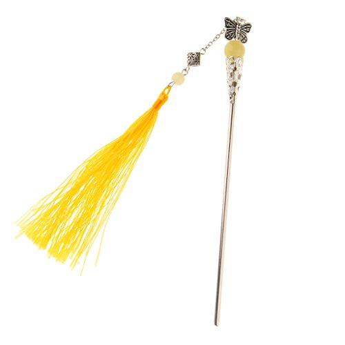 Baosity Palillo con Borlas para Pelo Accesorios de Estilo Chino Antiguo - Amarillo claro