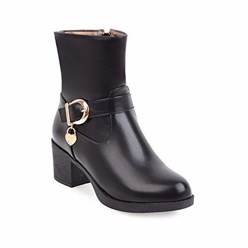 europeo alto con cinturón black botas Invierno botas de tacón botas de Martin mujeres zXx1nHdq