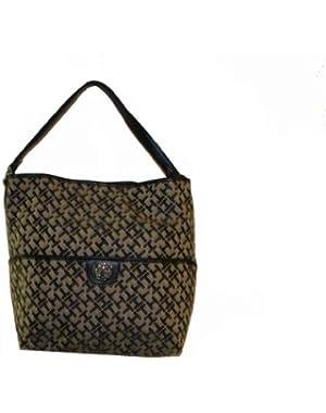 Women's Bucket Tote Handbag, Black Alpaca