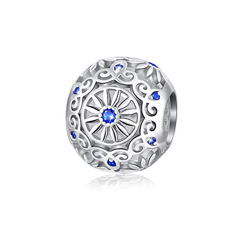 FOREVER QUEEN Blue Daisy Flower Charms Spacer Beads 925 Sterling Silver 12mm Fits European Charm Bracelet Vintage Jewelry for Women Girls