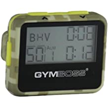 Gymboss Interval Timer and Stopwatch - GREEN CAMOUFLAGE / YELLOW SOFTCOAT