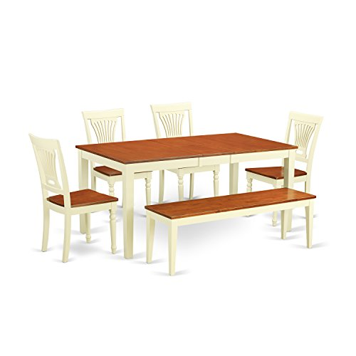 East West Furniture NIPL6-WHI-W 6 Piece Dinette Table and 4 Kitchen Chairs Coupled with A Bench Set