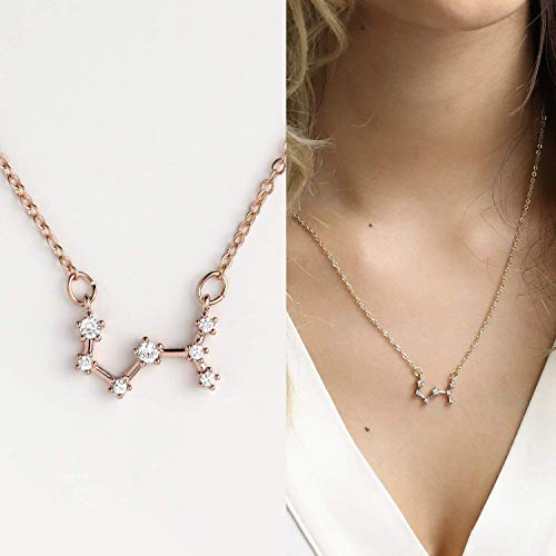 November Necklace Rose Gold Necklace Rose Gold Chain Necklace Scorpio Sign Charm Constellation Necklace Scorpio Necklace Zodiac Necklace