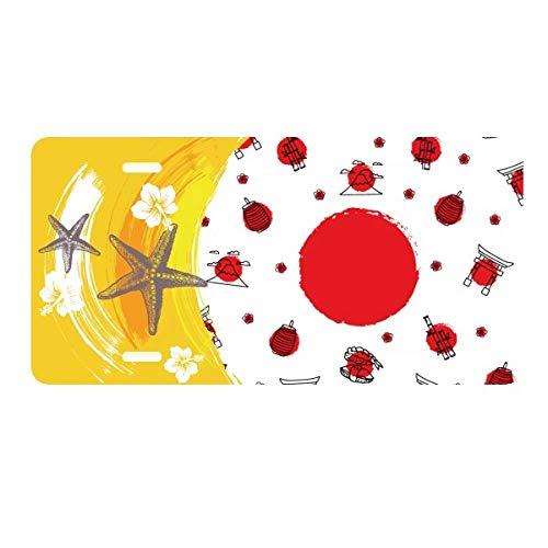 DIYthinker Japan Culture National Flag Lantern License Plate Car Decoration Starfish Plumeria Rubra (National Japan Stainless)