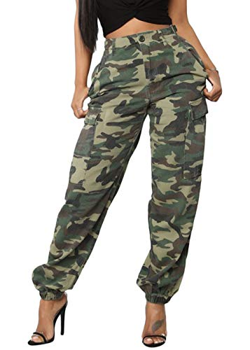(Joyfunear Women's Casual Camouflage Loose Elastic Buttons Cargo Pants with Pockets Camouflage X-Large)