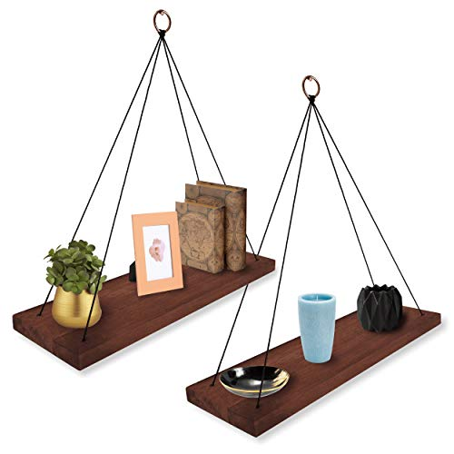 Wall Hanging Shelf Modern Boho - Wood Hanging Shelves for Wall - Farmhouse Rope Shelves for Bedrooms Living Room Bathroom Kitchen - Rustic Shelves - Hanging Wall Shelf Decor - Floating Shelves Wood